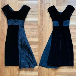 Vintage 50s black velvet dress satin pleated sash